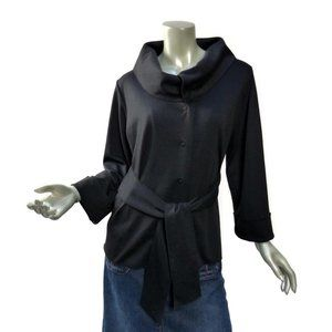 Essentials by A.B.S. Black Sash Jacket Size Large Snap Front Cowl Collar Fitted
